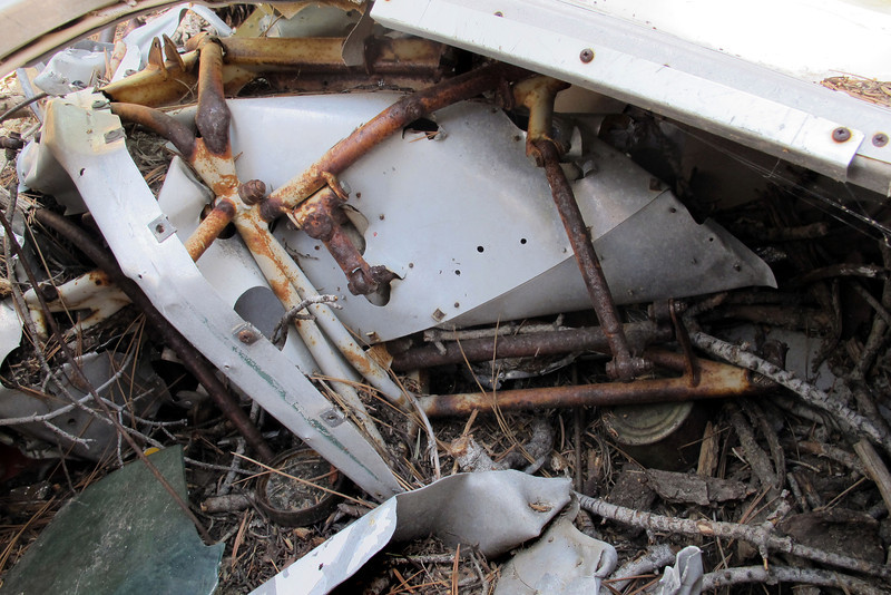 Inside the baggage compartment there was part of fuselage frame with linkages.