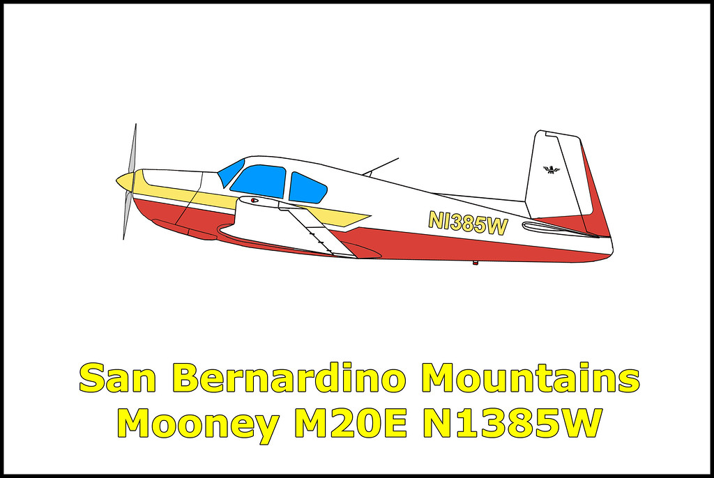 On 5/7/71 the Mooney M20E N1385W was on a flight from Los Angeles, California to Scottsdale, Arizona. When it failed to arrive at it's destination a search was started. The wreckage of the plane was located three days later by a California Highway Patrol helicopter in the San Bernardino Mountains. The plane flew into trees on ridge while being flown by a non instrument rated pilot in adverse weather with snow, icing conditions, turbulence and visibility of less than a quarter mile. Killed in the accident were the pilot, his wife and five year old daughter.