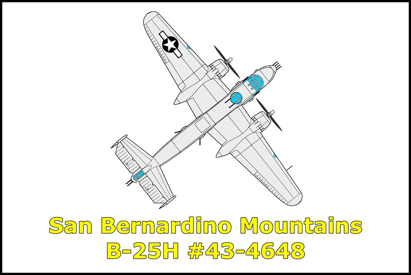 At 6:30pm on 5/31/45 the North American B-25H Mitchell bomber #43-4648 crashed in the San Bernardino Mountains, California. Killed in the accident was the crew of three, pilot 2Lt. August P. Parks, co-pilot F/O Charles F. Cizek and engineer Sgt. Orville V. Barton.<br /> <br />     The flight had taken off from March Field, Riverside, California on an instrument training flight to Victorville Army Air Field, Victorville, California, and a low level bombing mission on the Victorville Bombing Range. The bomber landed at Victorville Army Air Field and the crew was briefed on bombing range use and procedures. The bomber took off at 5:20pm cleared to operate on the bombing range and an instrument flight to March Field. The bomber failed to arrive at the bombing range and failed to return to March Field. The bomber was found to have crashed in a box canyon that it could not out climb or turn around in exploding into flames upon impact.