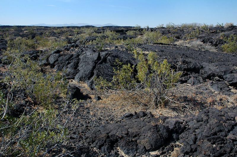 Starting off across the lava flow towards the Skyhawk's crash site.