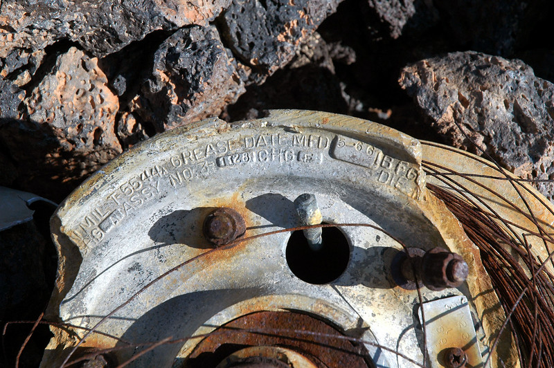 """Close up of the wheel shows manufacturing date of a date """"5-66"""". It could be a newer wheel on an older plane."""