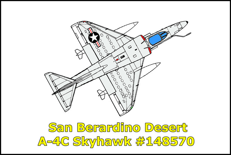 On August 18, 1966 the US Navy A-4C Skyhawk BuNo 148570 with the  VA-56, piloted by LCDR Arthur K. Tyszkiewicz was on a scheduled two plane combination navigation and bombing/strafing flight. The flight departed Lemoore Naval Air Station and flew the navigation phase of the flight to the bombing range. The flight made three 45 degree MK76 bombing runs on selected targets. On the fourth run, the flight made a 15 degree individual strafing runs with 20mm ball ammunition. As LCDR Tyszkiewicz commenced his second strafing run, he noticed the utility hydraulic system warning light flickering. As he aborted the run he noticed the fire warning light and flight control hydraulic warning light had also had come on. He reduced the power control level to idle, but the hydraulic system warning and fire warning lights remained on. He then secured the engine and successfully ejected at approximately 2500 AGL at 190 knots. The aircraft impacted at 30 degrees nose down angle and was completely destroyed.<br /> <br /> Sadly less than six months after surviving this accident, at the age of 33, LCDR Arthur Kasimi Tyszkiewicz was killed in action on January 14, 1967 in Laos. LCDR Tyszkiewicz was buried at sea from the U.S.S. Enterprise.