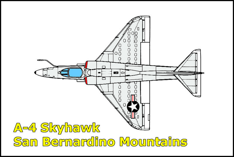 On 9/8/70, the  A-4E Skyhawk BuNo 150089 crashed into a canyon in the San Bernardino Mountains . The Marine pilot, Captain Patrick G. Carroll was on a navigation training flight when the Skyhawk suffered a malfunction. The pilot was able to eject safely just moments before the crash. The flight originated from El Toro MCAS.