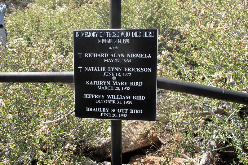 Just above the site overlooking the slope that the wreckage is scattered along was a cross with a plaque. Listed were the names of the five people who lost there lives here on November 14, 1991.