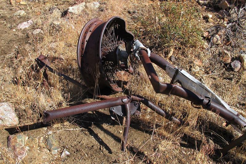 Wire spoke wheel.