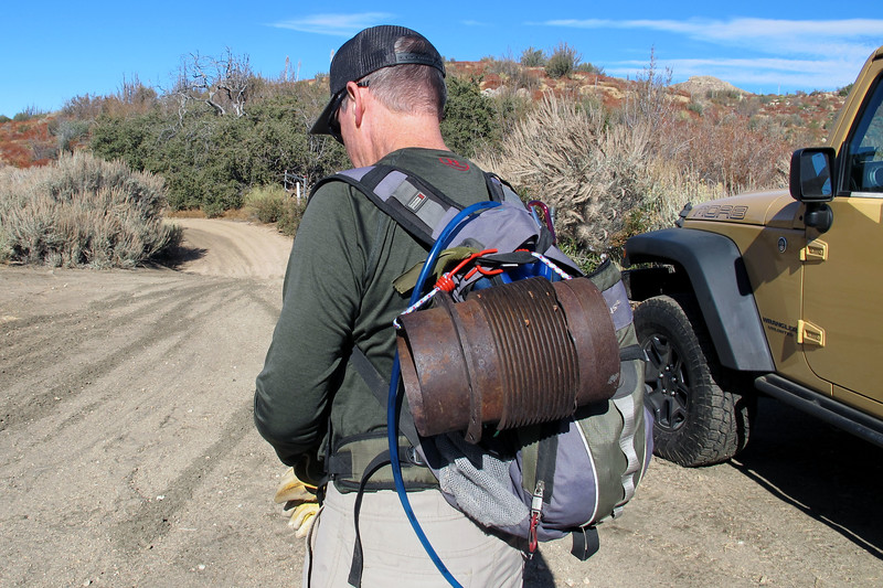 At the start of the hike. <br /> <br /> Patric will be returning some items that were given to his father by the deer hunter who located the site about thirty years ago and had recovered the parts. The largest of the items is this engine cylinder which is as heavy as it looks.