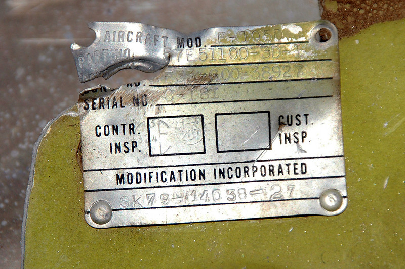 This is the only tag I found. It confirms that it's a F-105D, but already knew that. There is a contract number of AF33-600-38927. Don't know how to use the contract number to help figure out a S/N or group of S/Ns.