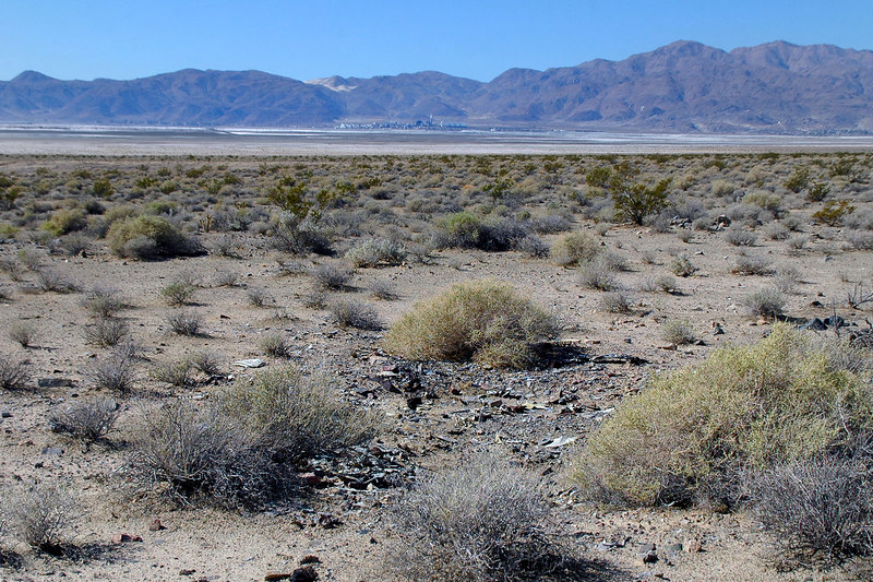 View of Trona across Searles lakebed from the crash site.