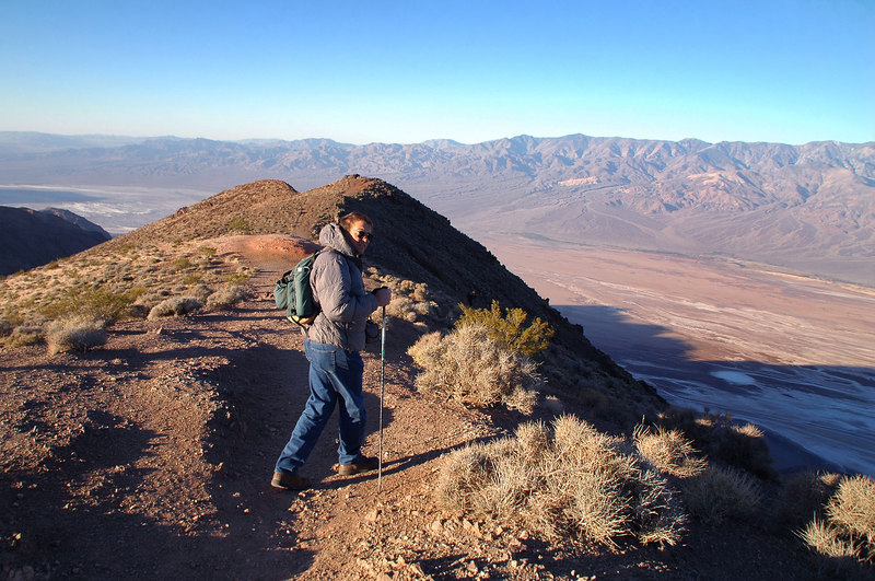 Tom at the start of the hike. We plan to follow this ridge down 2,100' to an area we believe the F-105 crashed.