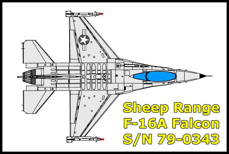 On December 27, 1982, the F-16A #79-0343 USAF crashed north of Las Vegas.<br /> From the USAF crash report: The mishap aircraft was lead of a two ship mission scheduled for Basic Fighter Maneuvers in Ranges 61 and 62 (R4806) and Alamo training area (Desert Military Operating Area). Mission was scheduled to include support from Air Combat Maneuvering Instrumentation (ACMI). Each aircraft was scheduled to be loaded with one Airborne Instrumentation Subsystem (AIS) pod, one AIM-91, and a 300-gallon centerline fuel tank and two weapons pylons on wing stations 3 and 7. The flight took off from Nellis AFB at 1047 PST in formation and proceeded to their assigned airspace. Once established in the area, they engaged in Basic fighter maneuvers, starting initially from beyond visual range. The final engagement was set up within visual range. During the final engagement, the leader's aircraft departed controlled flight. The pilot ejected successfully. The aircraft impacted the ground and was destroyed.