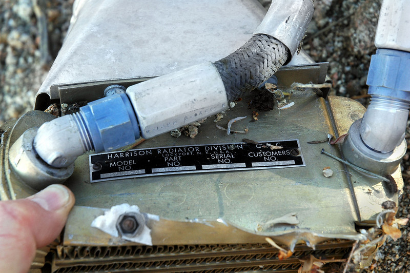 Tag and fittings on the heat exchanger.