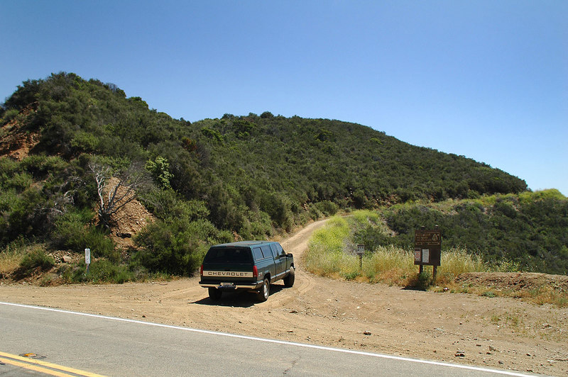 This is where the dirt road starts, just east of Bouquet Reservoir.