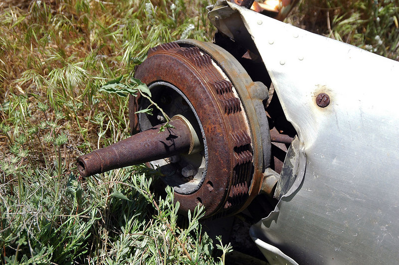 The wheel axle and brake.