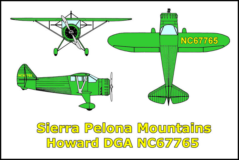 On 4/6/51 the Howard DGA-15-P #NC67765 crashed in the Sierra Pelona Mountains on a flight from Pacomia airport to Las Vegas. The wreckage was found by V. W Proctor on 6/24/51 while patrolling the fence lines on the Ritter Ranch. Four people died in this weather related crash. Killed were, Mr and Mrs Edwin S Coe, Jerry F Taylor. Crash site is easy to see from the road. The engine is about 250' below main wreckage.<br /> <br /> The Howard DGA's were produced in the 1940's. The DGA's were one of the top of the line private aircraft of the period.