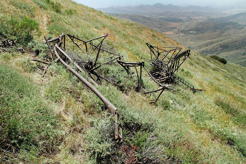 All that remains is the steel frame. All the wood and fabric were destroyed by fire & time.