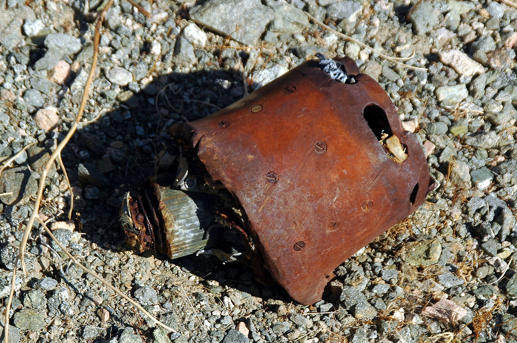 The remains of another motor. This one is fairly large, about eight inches in diameter.