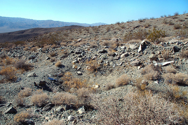Another view of the impact crater. The Firebee must have impacted hard. Looks like most of it is at the site, but it's in a lot of little pieces.