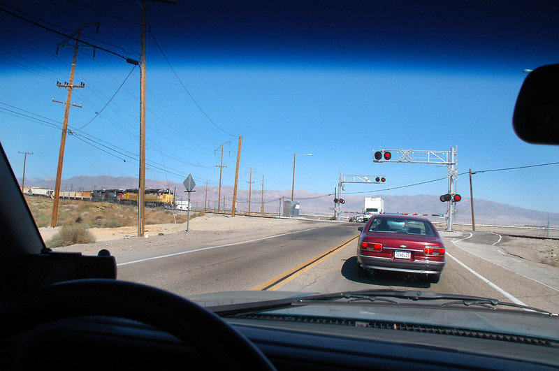 Waiting for the train to pass in the town of Trona. I was on my way to Towne Pass in Death Valley where I'll meet up with a group of friends to hike up to Towne Peak. Decided to check out this crash site on the way.