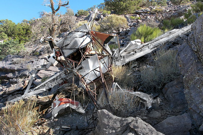 View from the tail showing some of the pieces of wreckage scattered near the main wreckage.