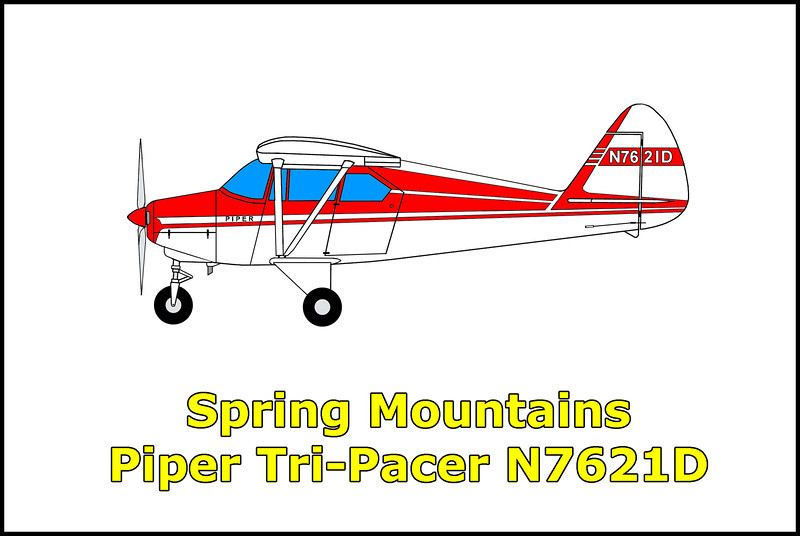 I don't have any information on when or why this Piper Tri-Pacer N7621D crashed in the Spring Mountains, Nevada. I learned about this site when I came across crash site photos posted on Mike McComb's web site. Mike along with Craig Fuller and Doug Scroggins spotted the wreckage from the air while searching the area for the crash site of the Beechcraft AT-11 #42-36873. They later visited the site to find that it was a Piper Tri-Pacer.