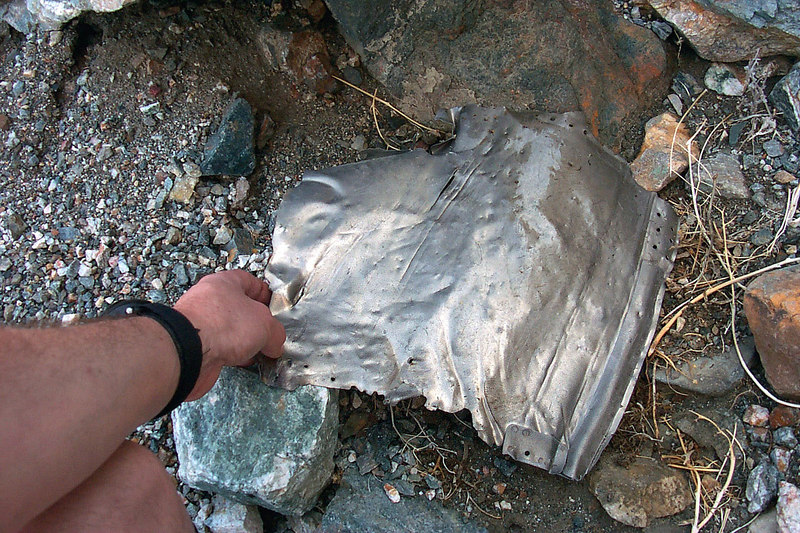 After climbing about 700', I found this small piece of titanium. The first piece of wreckage.