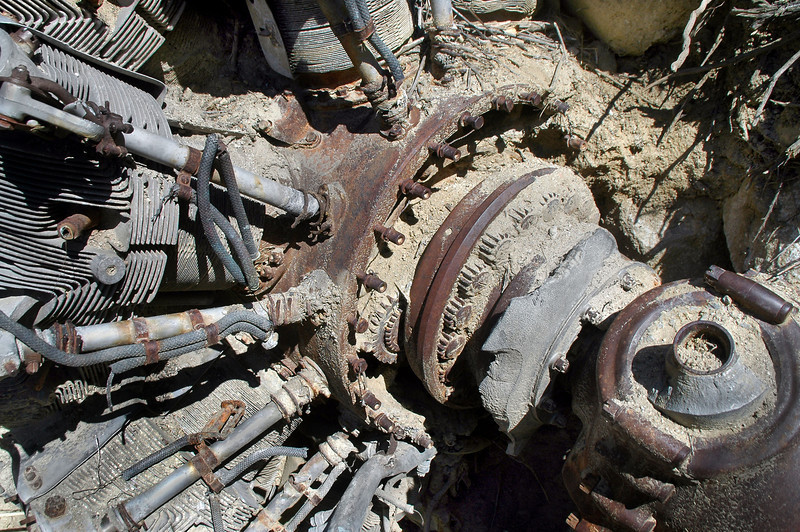 The front case was broken exposing the propeller reduction gears.