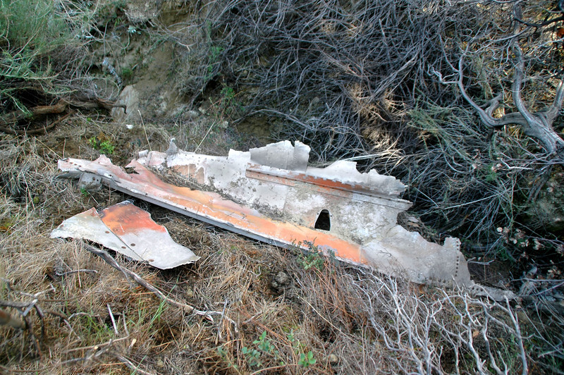 After searching a neighboring canyon with no results, I moved over to the next one and came upon this piece of wreckage. This six foot long piece looks like it's from the fuselage
