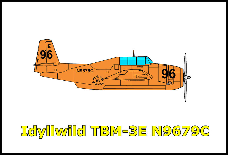 On July 20, 1968 the TBM-3E borate bomber Tanker 96 flown by 29 year old Robert Morrison was working on a hundred acre fire in the San Jacinto Mountains near the town of Idyllwild, California. While making a low pass up the smoke filled south fork of the San Jacinto River canyon to drop the load of borate, the converted Navy bomber crashed killing the pilot. The airtanker, the General Motors TBM-3E Avenger N9679C formally BuNo 69293 was owned by Hemet Valley Flying Service.