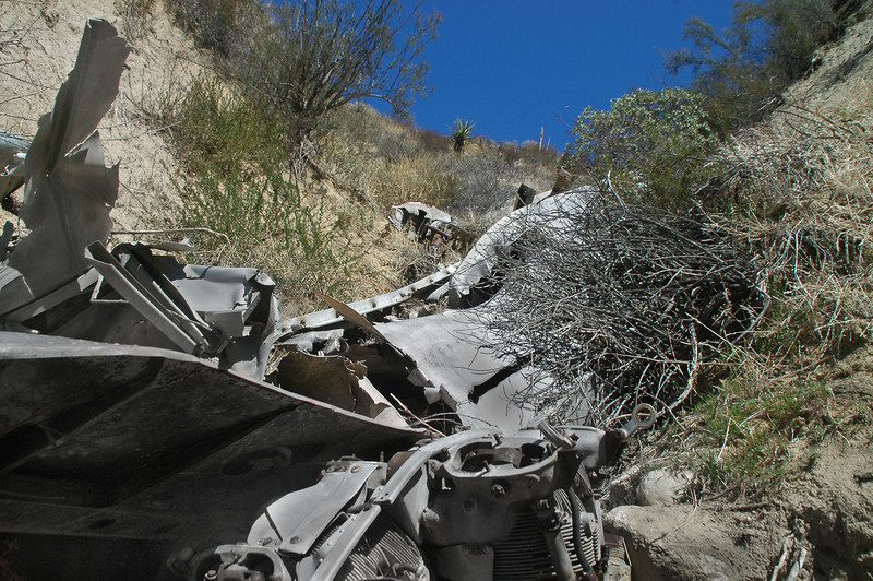 I could see more wreckage by looking over the top of the engine.