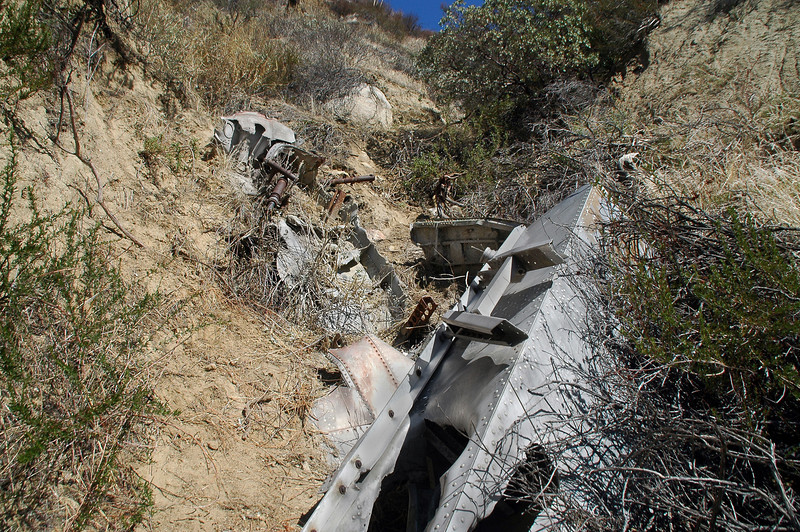 Looking up the canyon from the top of the engine. This looks like the place the TBM-3 came to rest after crashing into the side of the mountain.