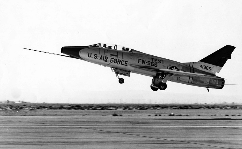 North American TF-100C #54-1966 takeoff. The TF-100C was the prototype aircraft for the F-100F. North American developed the two-seat trainer version on speculation, at no cost to the USAF.  (U.S. Air Force photo)