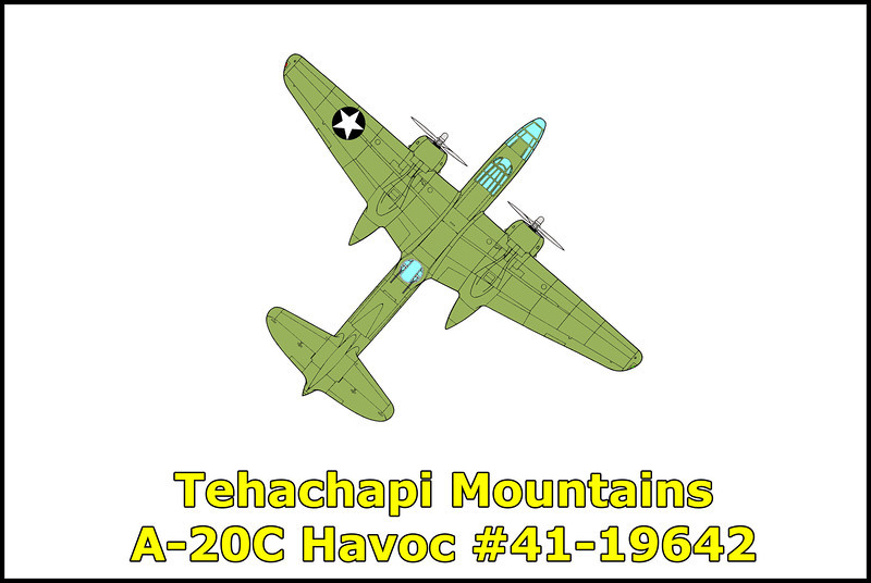 On 10/28/42 at 11:40am, while on a routine flight from  Hamilton Field to March Field the Douglas A-20C Havoc #41-19642 flying in instrument conditions crashed into the side of a mountain killing the crew of four. The A-20C struck the mountain at an angle of approximately 90 degrees two hundred feet below the 8,000 foot summit, exploding into flames and hurling wreckage down the ridge. Investigators could not determine what caused the airplane to crash. Visibility in the area at the time of the accident was reported as extremely poor with scattered snowstorms in the higher elevations. Killed in the accident were: Maj. James M. Liddell, pilot; Sgt. Harry W. Short, radio operator; SSgt. Morris G. Deason and TSgt. Oliver W. Murphy.