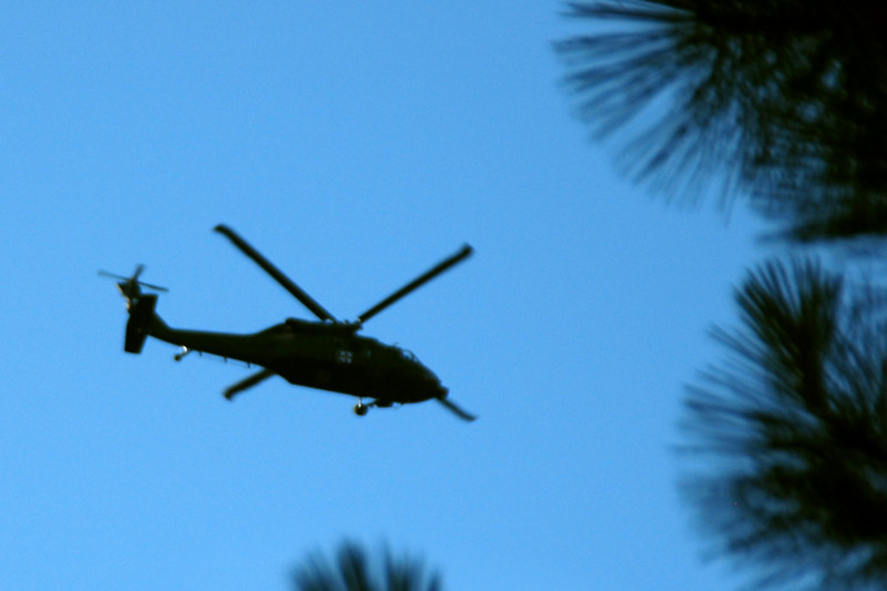 Heard a helicopter close by, was able to get a photo of this Blackhawk flying over.