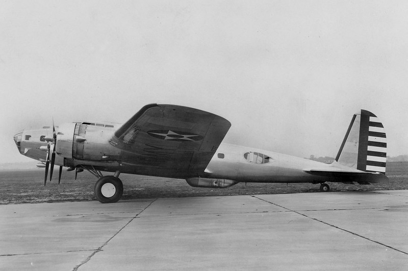 This photo of a B-17C shows the gun opening and the small vertical stab of this model.<br /> (U.S. Air Force photo)