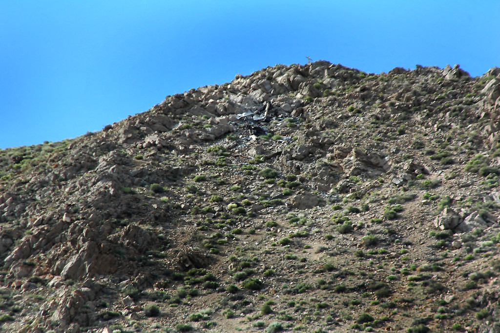 Zoomed in on the crash site. A cross can be seen on the peak. If the plane was 100 feet higher that moonless dark night, they would have past over the peak probably never knowing how close they came to it.