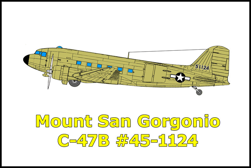 The C-47B Dakota USAF #45-1124 crashed in snowstorm on 12/1/52 while on a flight from Offutt AFB at Omaha, Nebraska to March AFB near Riverside, California killing the 13 men on board. On 12/5/52, a Marine Corps Sikorsky HRS-2 helicopter crashed while trying to reach the crash site. The remains of it's rotor blades are at the bottom of the canyon near Mine Shaft Flats. The C-47's wreckage is scattered from the Sky High Trail at 10,400' all the way down the canyon. I have past by this crash site many times while doing hikes in the area. This time plan to spend the day checking it out.<br /> <br /> The C-47 Dakota is the military's version of the DC-3.