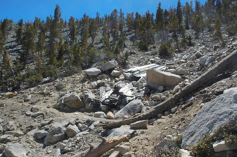 Some of the C-47 wreckage at the 10,400' level on the Sky High Trail. The trail passes right trough the crash site.