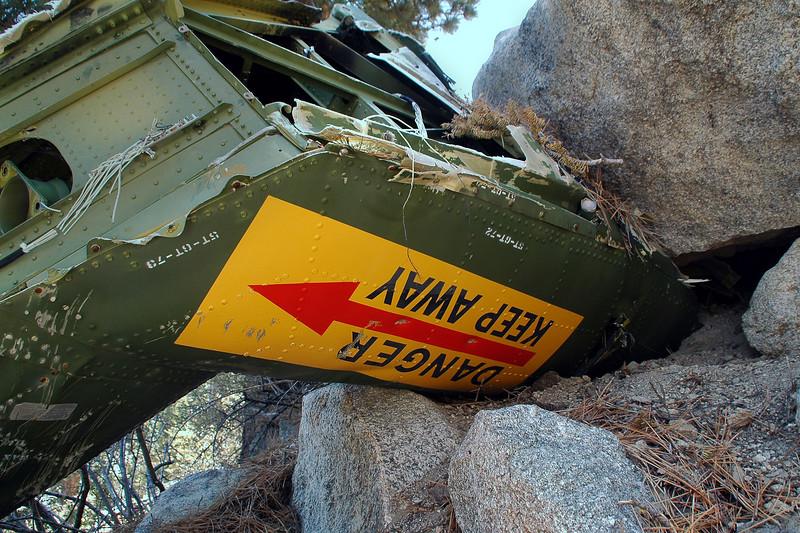 The tail rotor warning sign.