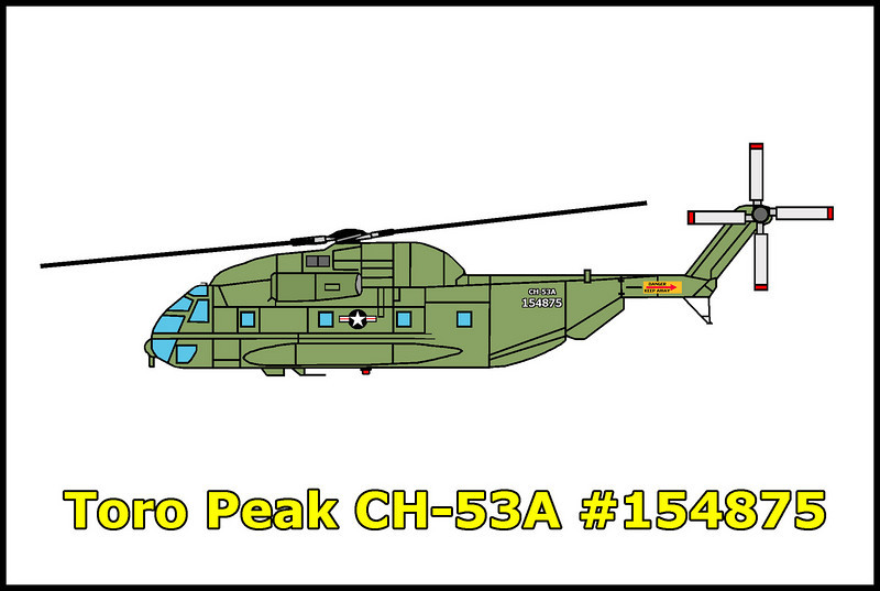 On May 16, 1968, USMC CH-53A Sea Stallion #154875 from HMH-462 at Santa Ana crashed while on a mission to install communications relay equipment atop Toro Peak. One of the sixteen men on board was killed in the accident.