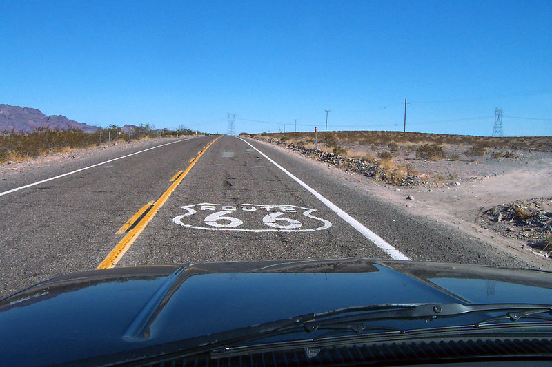 Driving on the old Route 66 marked on maps as National Trails Hwy just south of the I-40.