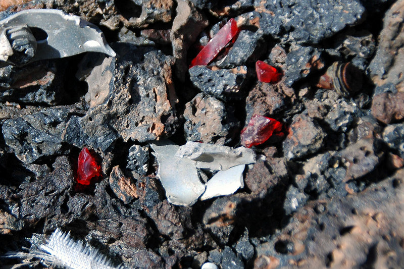 There were a lot of small pieces in the crater, found fragments from one of the navigation lights.