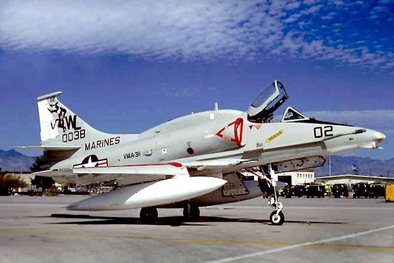 This photo taken in October 1980 is of the A-4M Skyhawk #160038. The A-4 flew with the Marine Attack Squadon VMA-311 Tomcats.