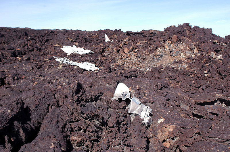This shot of the crash site shows most of the large pieces. The light colored area is the impact crater.