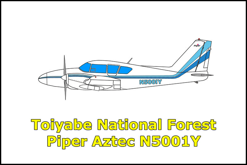 On 12/6/77 the twin engine Piper PA-23-250 Aztec N5001Y was on a flight believed en route from Mexico to an unknown destination when it crashed due to fuel exhaustion onto a hillside in Nevada's Toiyabe National Forest. The two 29 year old  men onboard survived the accident and were found two days later by motorists as they crawled injured along a road approximately nine miles from the crash site. They were transported to Nye General Hospital in Tonopah and treated for broken legs. When questioned by authorities, they stated that they had been involved in an automobile accident. Later when trackers came upon the wreckage of their airplane, they discovered that it was loaded with 725 pounds of marijuana. By the time the authorities had figured out what happened, the two injured men had been transported to the French Hospital in San Francisco, California. Sheriff's officers were able to collect enough evidence at the crash site for a Nevada Judge to sign arrest warrants and fix bail at $100,000. Evidence collected included finger prints, blood samples and in the suspects vacated Nevada hospital room, the key to the airplane.