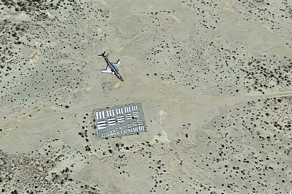 This Google Earth image shows the F-101A in it's present location at Edwards AFB on the Precision Impact Range Area.