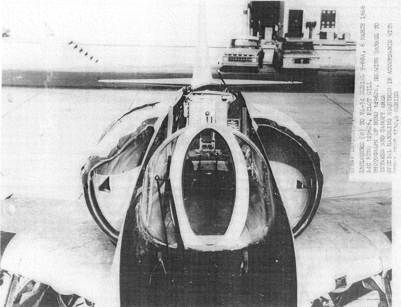 This photo of Lt. Jim Gill's A-4C BuNo 149626 at China Lake was copied from the Navy accident report. It shows damage caused in the mid-air to the intakes and the missing canopy.  The A-4's engine was severely damaged by ingestion of debris.