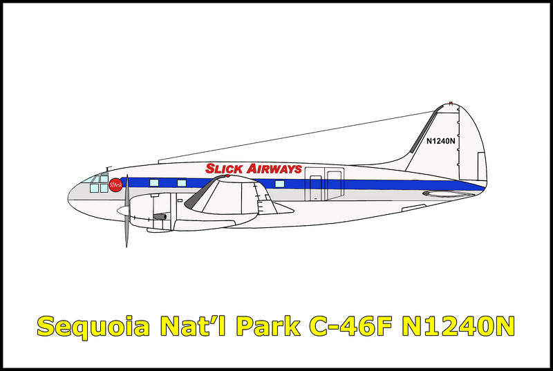 On 1/13/59 the Curtiss C-46F N1240N was on a flight out of Burbank, California to pick up a load of cargo in Seattle, Washington. At the time, the aircraft was on lease to the California Air Freight Company from Slick Airways Inc. When the aircraft failed to arrive at it's destination, a search was started and the next day was spotted by the Civil Air Patrol on the side of a mountain in Sequoia National Park. The C-46F crashed into the mountain while flying through a snow storm. The pilot Claude Monahan and co-pilot Forrest Kimball were killed in the accident. <br /> <br /> Aircraft's history: This Curtiss C-46F Commando C/N 22404 started off as USAAF #44-78581. In 1948 it was acquired by Alaska Airlines Inc. and was registered as N1240N. Then from 1957-1958 to American Air Export and Import Company aka AAXICO and finally to Slick Airways Inc. in 1958 till 1/13/59 when it was destroyed in the accident.