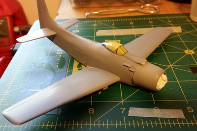 160413: Primed (rattle-can grey) and ready for paint.  Home-made canopy masks.