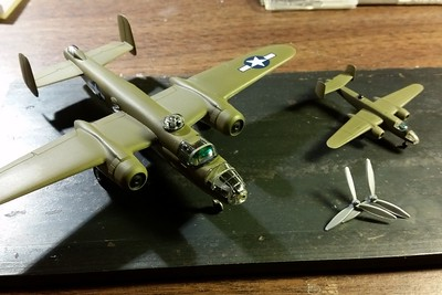 160220 B-25 with transparencies attached.  Note green shade (Sharpie) and propeller blade improvement.