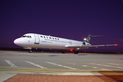 Night time photo of VH-NHF at Geraldton Airport WA 14th of June 2016